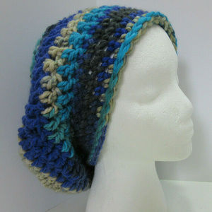 Slouchy Hat Blue Chunky Dreadlocks Multi Color Cap